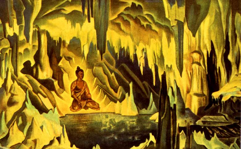 Nicholas-Roerich-Buddha-Inside-Cave-Painting